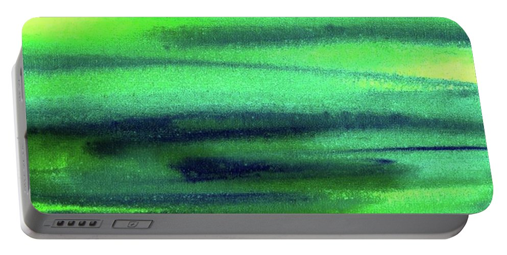 Emerald Portable Battery Charger featuring the painting Emerald Flow Abstract Painting by Irina Sztukowski