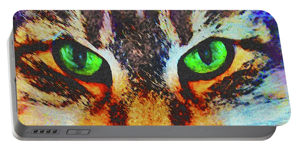 Emerald Gaze Portable Battery Charger featuring the digital art Emerald Gaze by John Beck