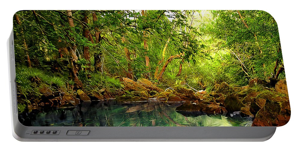 Abstract Portable Battery Charger featuring the digital art Emerald Lake by Svetlana Sewell
