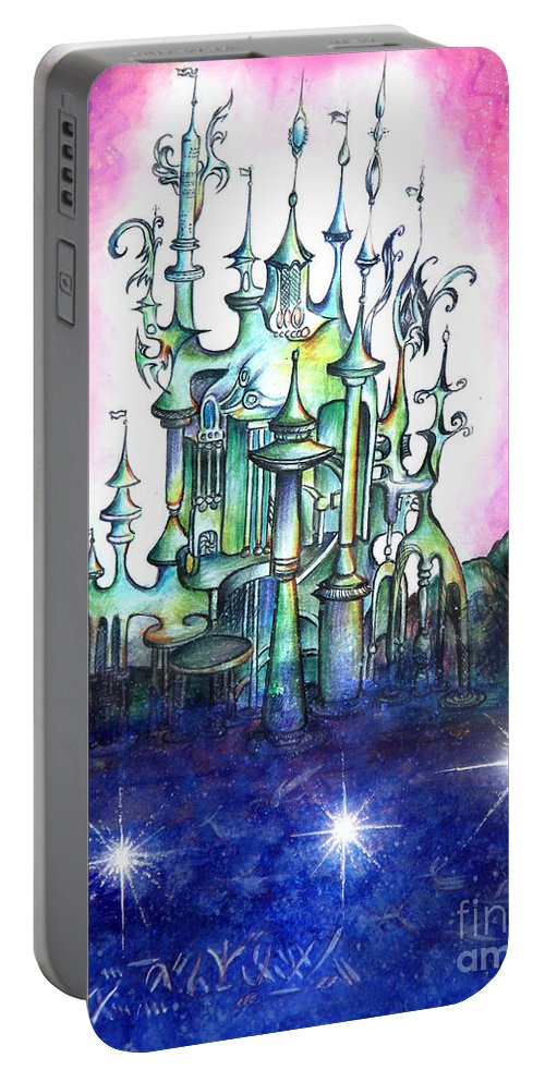 Palace Portable Battery Charger featuring the painting Emerald Palace Of Ancient Queen Of Space Aliens by Sofia Metal Queen