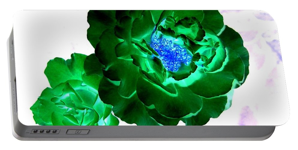 Rose Portable Battery Charger featuring the digital art Emerald Rose by Will Borden