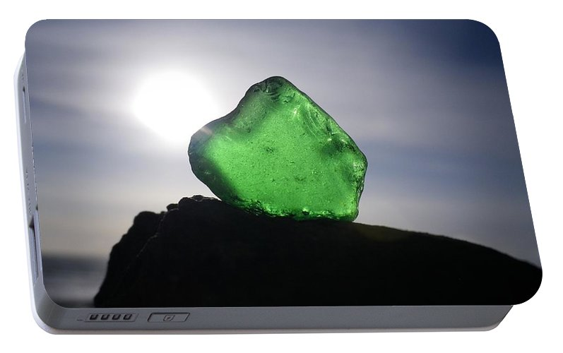 Emerald Sea Glass On Rock Portable Battery Charger