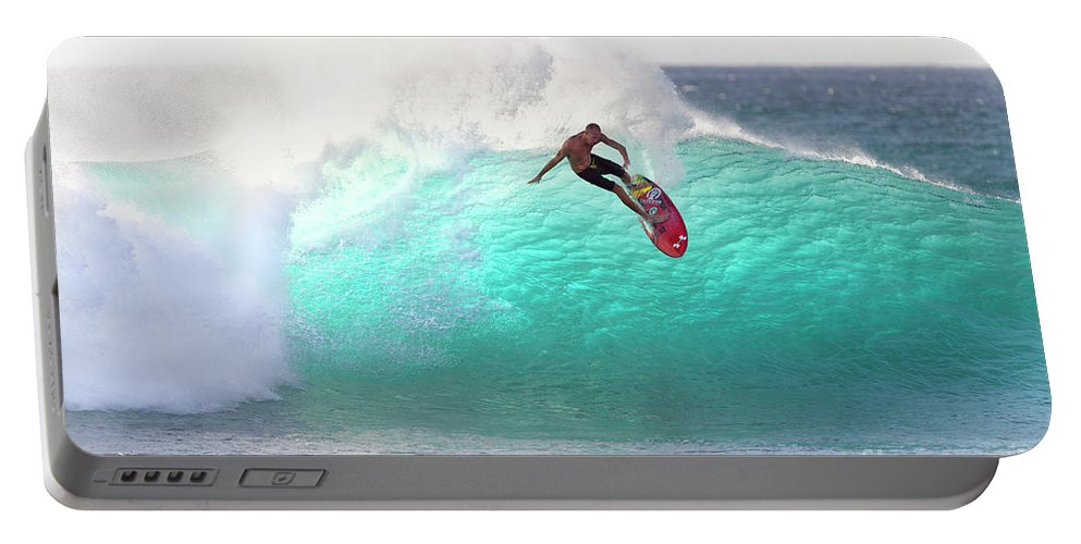 Surf Portable Battery Charger featuring the photograph Emerald Slice by Sean Davey