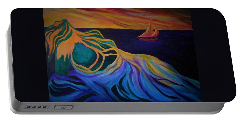Woman Portable Battery Charger featuring the painting Emergence by Carolyn LeGrand