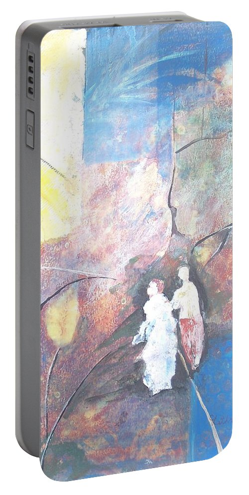 Collage Portable Battery Charger featuring the painting Emergence by Christine Lathrop