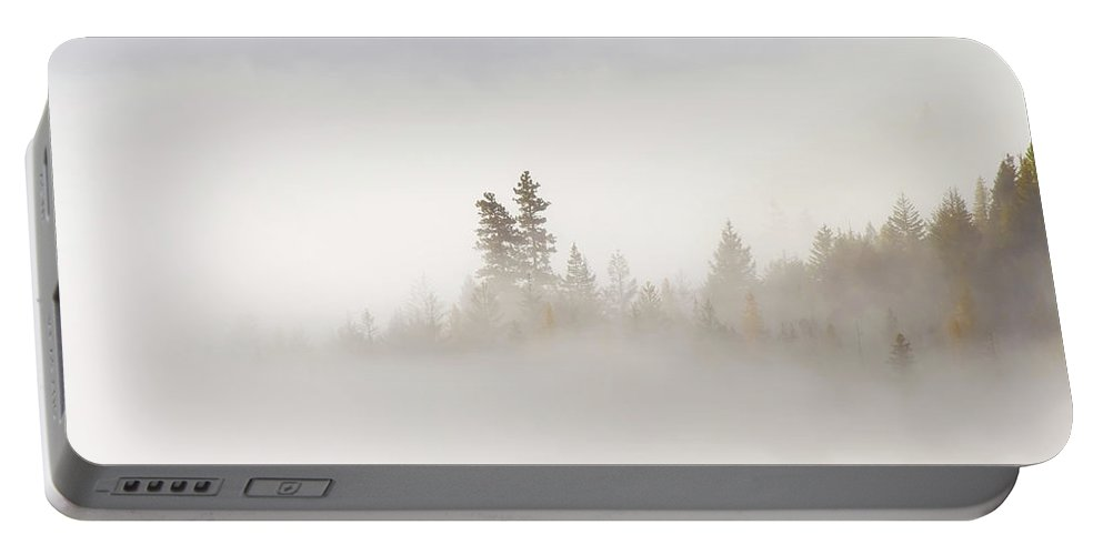 Fog Portable Battery Charger featuring the photograph Emergence by Mike Dawson