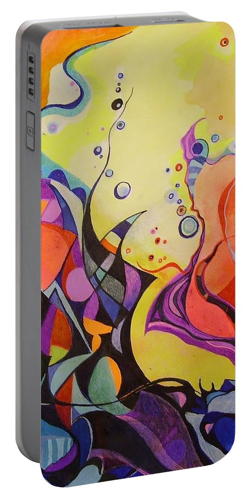Watercolors Pens Paper Abstract Portable Battery Charger featuring the painting Emergence by Wolfgang Schweizer