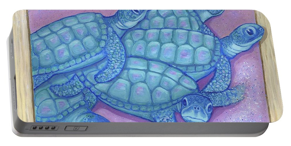 Turtles Portable Battery Charger featuring the painting Emerging by Laura Zoellner
