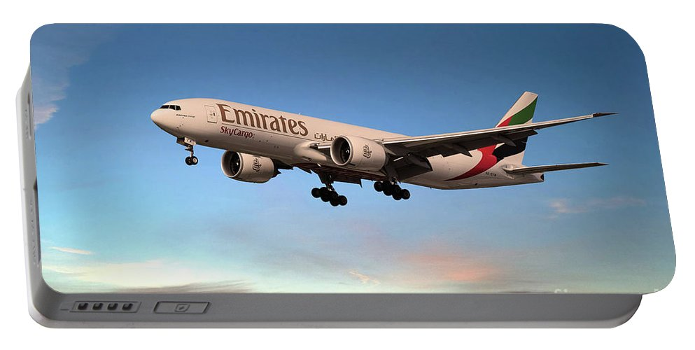 Boeing 777 Portable Battery Charger featuring the digital art Emirates Boeing 777f A6-efm by J Biggadike