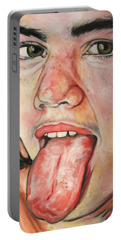 Oil Painting Portable Battery Charger featuring the painting Emma 3 by Fabrice MARTIN