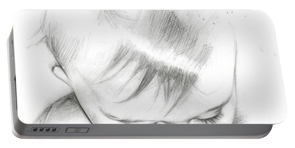 Lin Petershagen Portable Battery Charger featuring the drawing Emmeli by Lin Petershagen