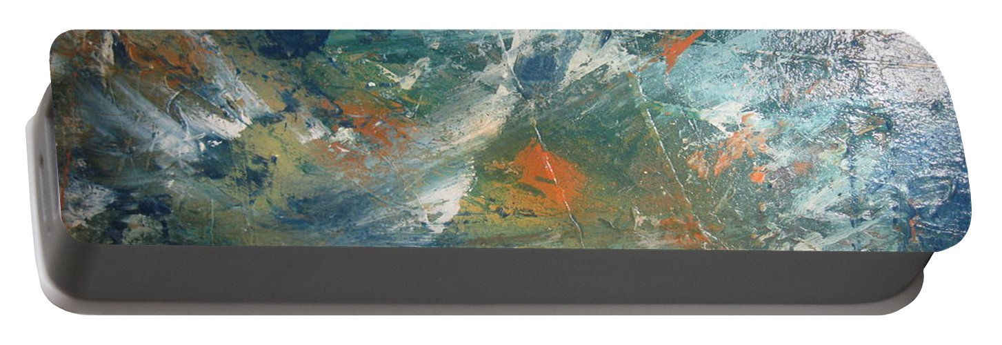 Non Duality Portable Battery Charger featuring the painting Emotional Deluge by Paula Andrea Pyle