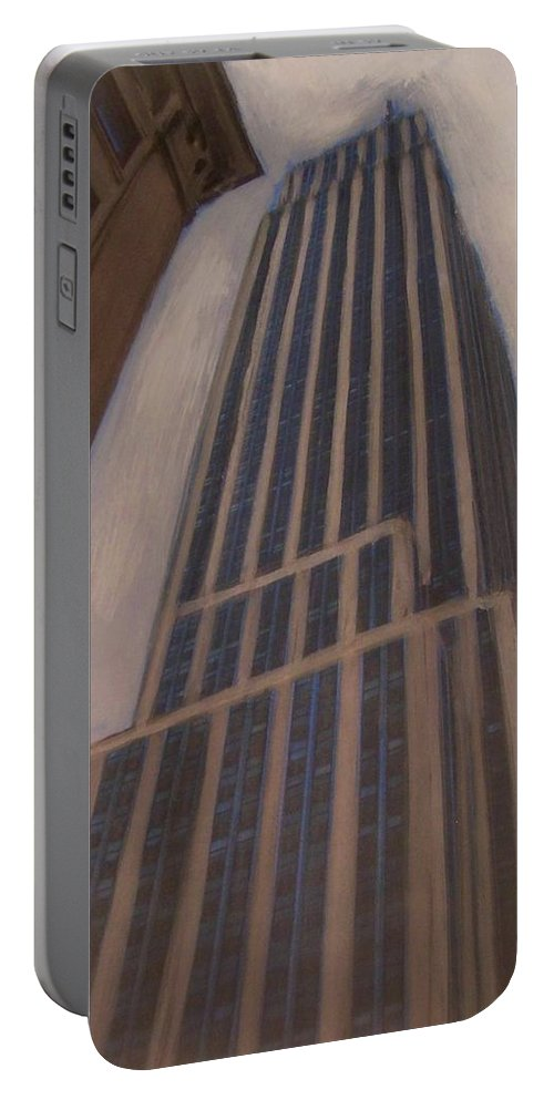 Empire State Building Portable Battery Charger featuring the mixed media Empire State Building 1 by Anita Burgermeister