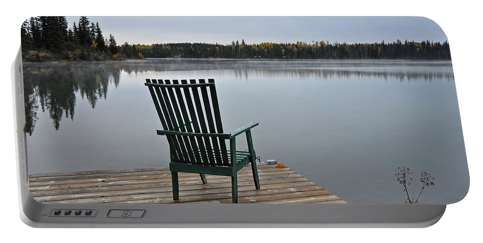 Autumn Portable Battery Charger featuring the photograph Empty Chair On Autumn Morning by Perl Photography