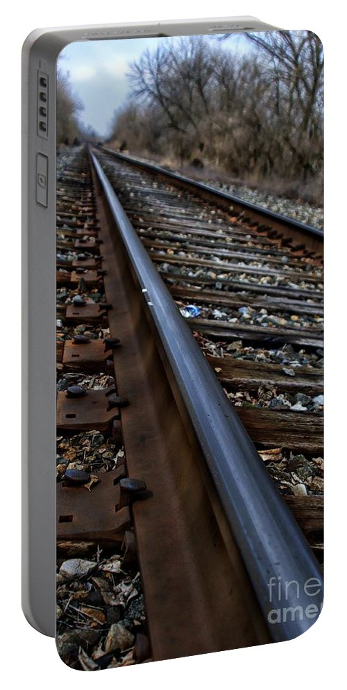 Train Portable Battery Charger featuring the photograph Empty Railroad Tracks II by J M Lister