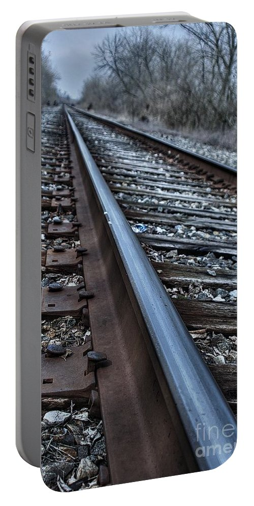 Train Portable Battery Charger featuring the photograph Empty Railroad Tracks by J M Lister