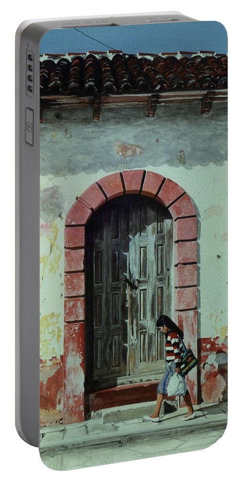 Hyperrealism Portable Battery Charger featuring the painting En Calle Ejercito Nacional by Michael Earney