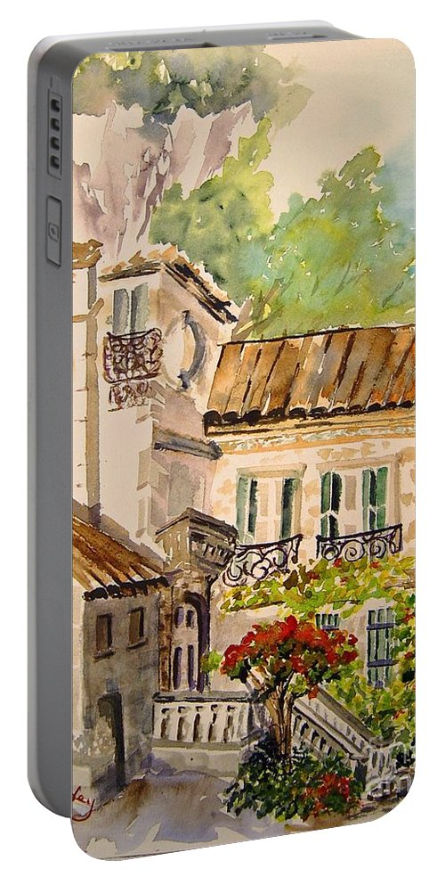 France Portable Battery Charger featuring the painting En Plein Air At Moulin De La Roque France by Joanne Smoley
