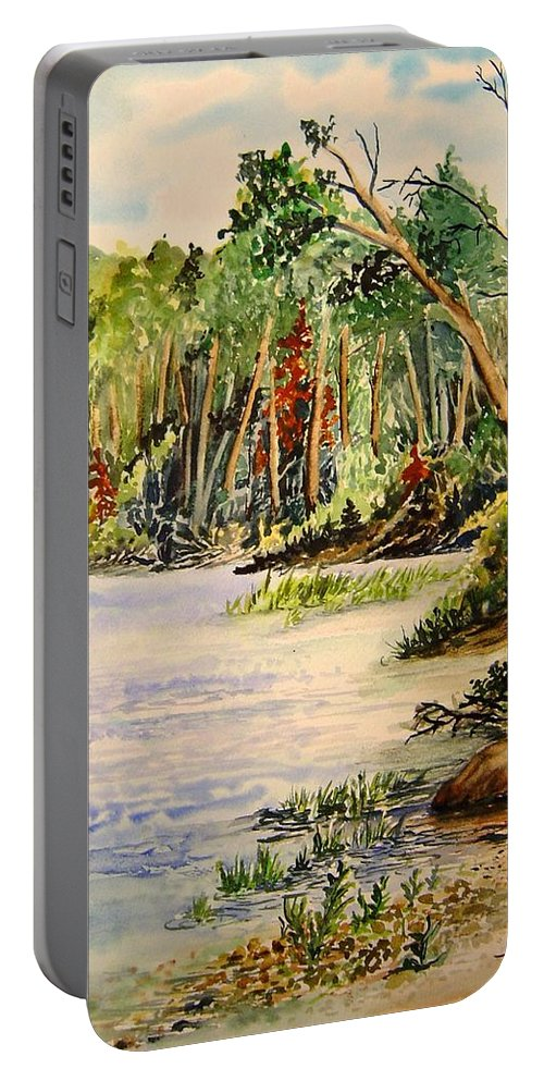 Otter Falls Manitoba Whiteshell Lake Landscape Portable Battery Charger featuring the painting En Plein Air At Otter Falls Boat Launch by Joanne Smoley