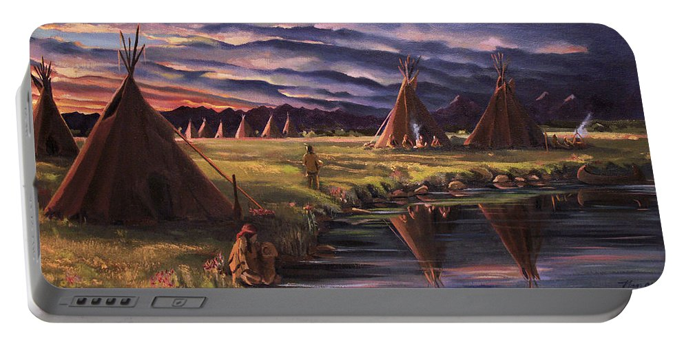 Native American Portable Battery Charger featuring the painting Encampment At Dusk by Nancy Griswold