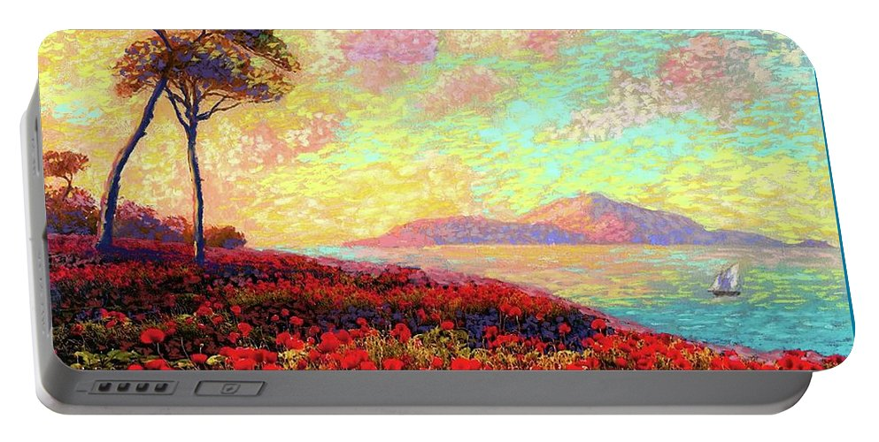 Wildflower Portable Battery Charger featuring the painting Enchanted By Poppies by Jane Small