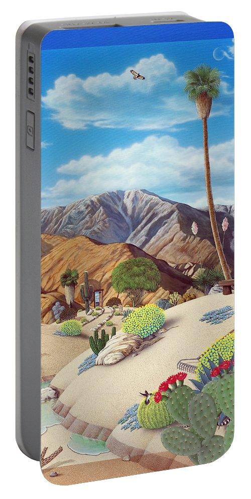 Desert Portable Battery Charger featuring the painting Enchanted Desert by Snake Jagger