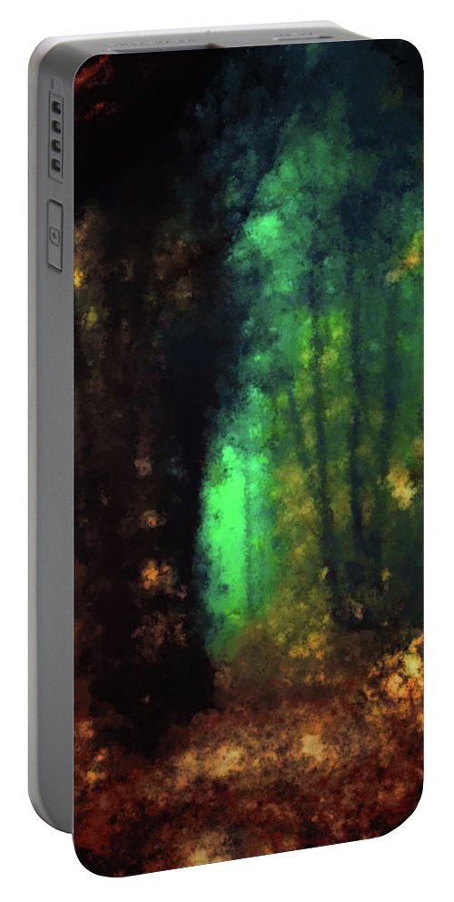 Entranced Portable Battery Charger featuring the painting Enchanted Forest by Armin Sabanovic