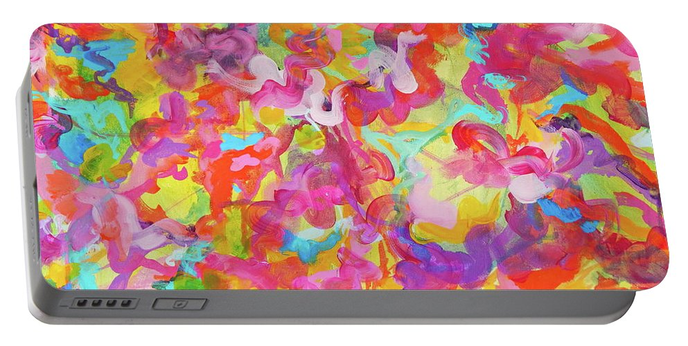 Bright And Colorful Portable Battery Charger featuring the painting Enchanted Garden by Expressionistart studio Priscilla Batzell