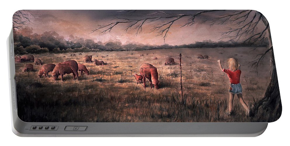Landscape Portable Battery Charger featuring the painting A childhood by William Russell Nowicki