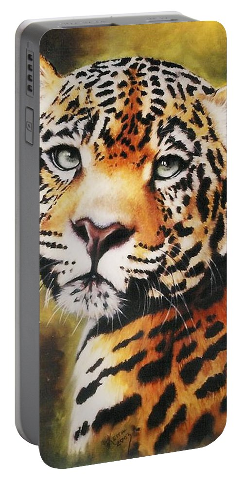 Jaguar Portable Battery Charger featuring the pastel Enchantress by Barbara Keith