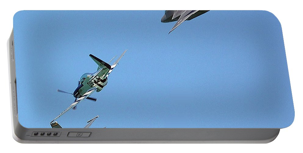 Jets Portable Battery Charger featuring the digital art Encore Fly-over by DigiArt Diaries by Vicky B Fuller