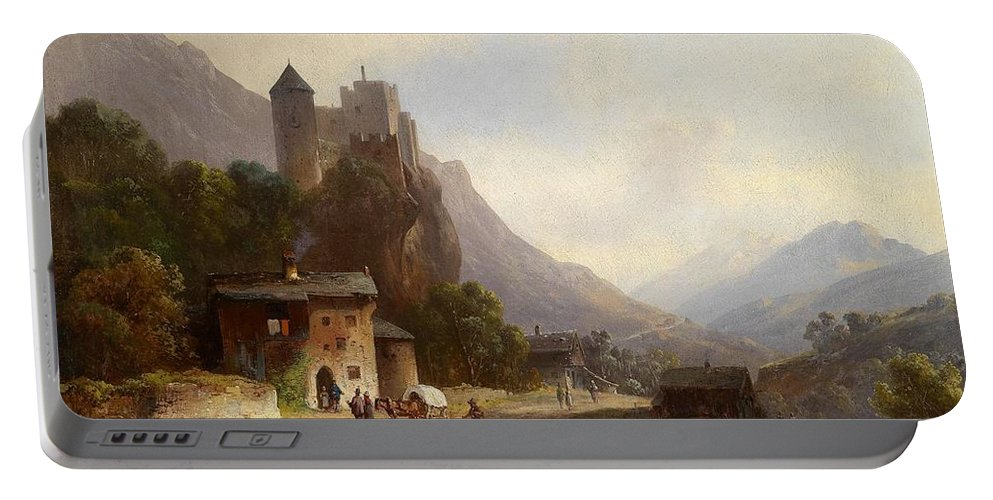 Anton Doll (1826�1887) Encounter In A Mountain Valley Beneath A Castle Portable Battery Charger featuring the painting Encounter In A Mountain Valley by Anton Doll