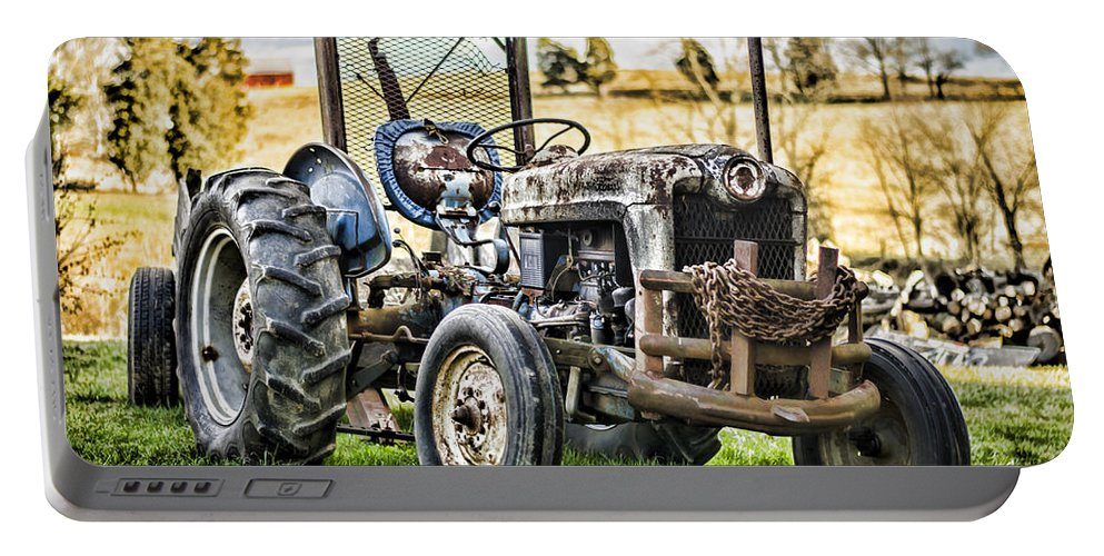 Tractor Portable Battery Charger featuring the photograph End Of A Days Work by Heather Applegate