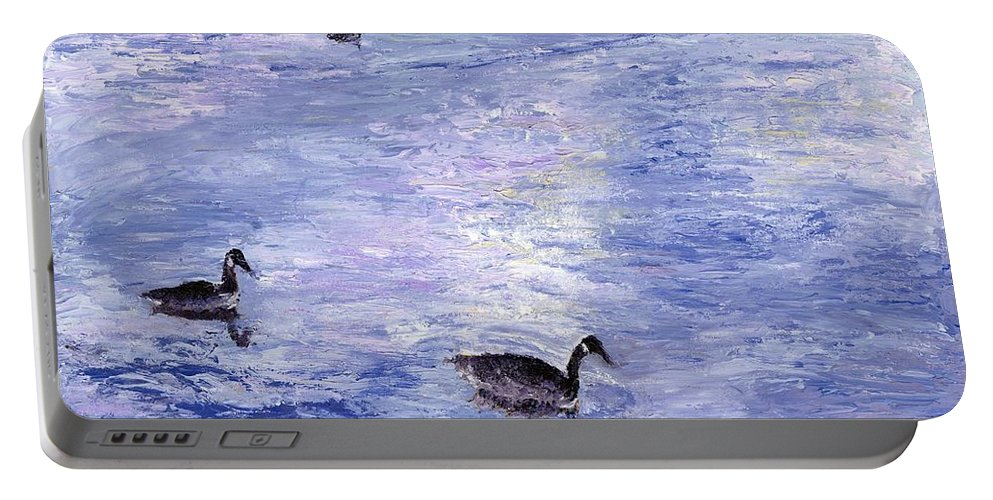 Canada Geese Portable Battery Charger featuring the painting End Of The Day by Alice Faber