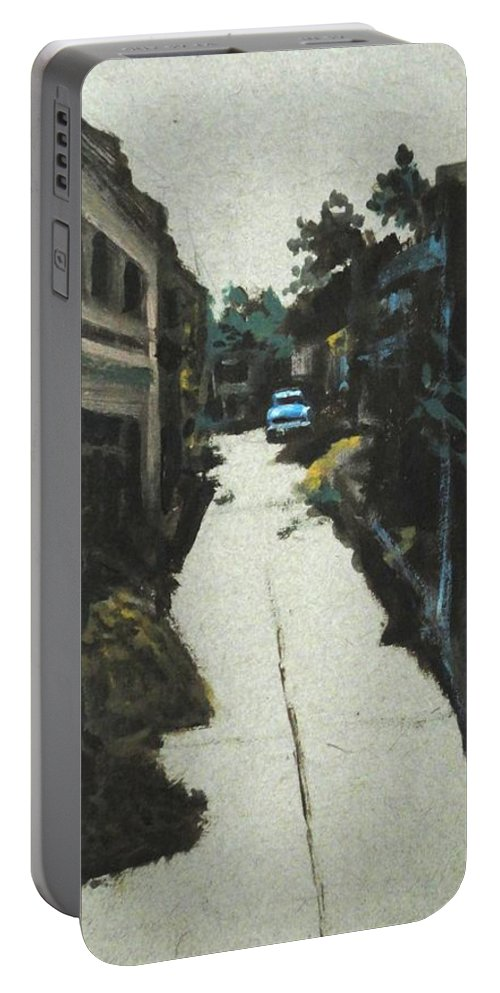 End Portable Battery Charger featuring the painting End Of The Road by Usha Shantharam