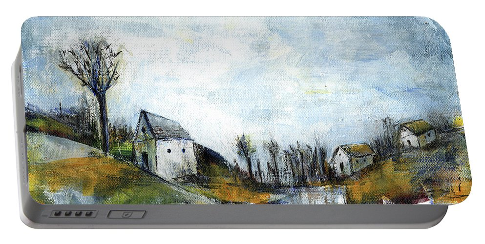 Landscape Portable Battery Charger featuring the painting End of winter - acrylic landscape painting on cotton canvas by Aniko Hencz