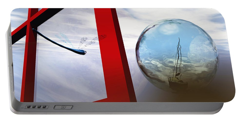 Surreal Portable Battery Charger featuring the digital art Endless Voyage by Richard Rizzo