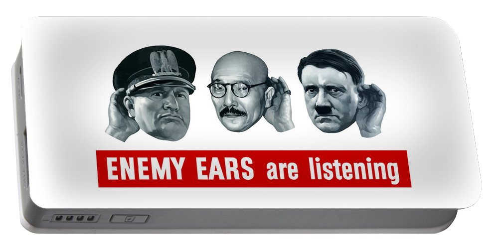 Ww2 Portable Battery Charger featuring the painting Enemy Ears Are Listening by War Is Hell Store