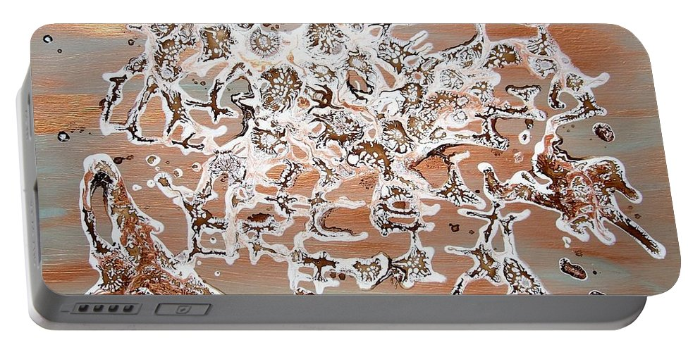 Abstract Mixed Media Portable Battery Charger featuring the painting Energy Dance by Georgeta Blanaru