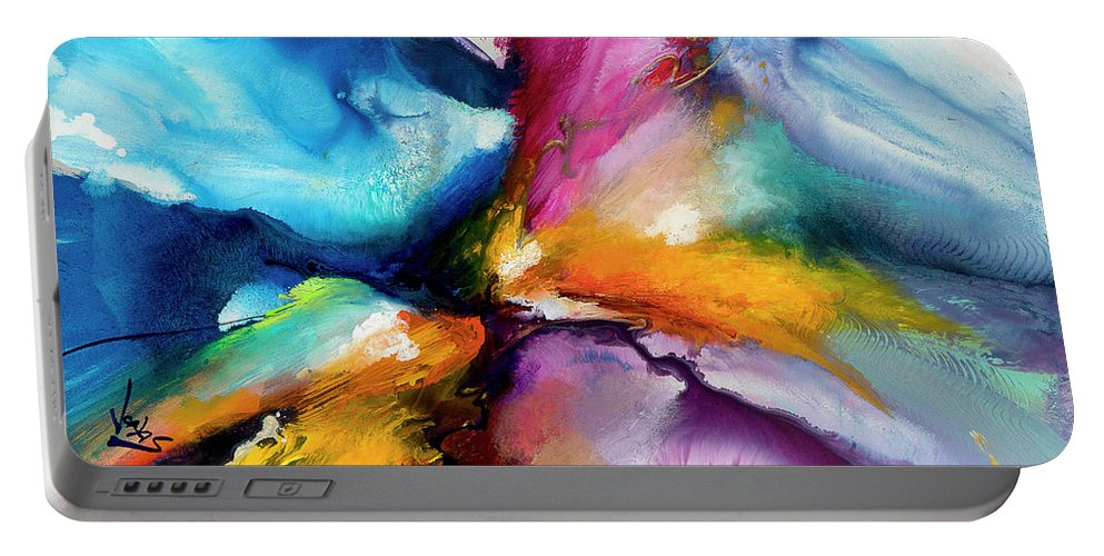 Abstract Portable Battery Charger featuring the painting Energy Flow #5 by Jonas Gerard