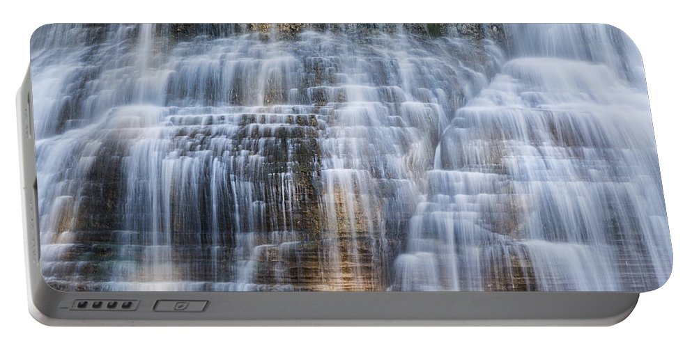 Ithaca Portable Battery Charger featuring the photograph Lower Falls Cascade #1 by Stephen Stookey