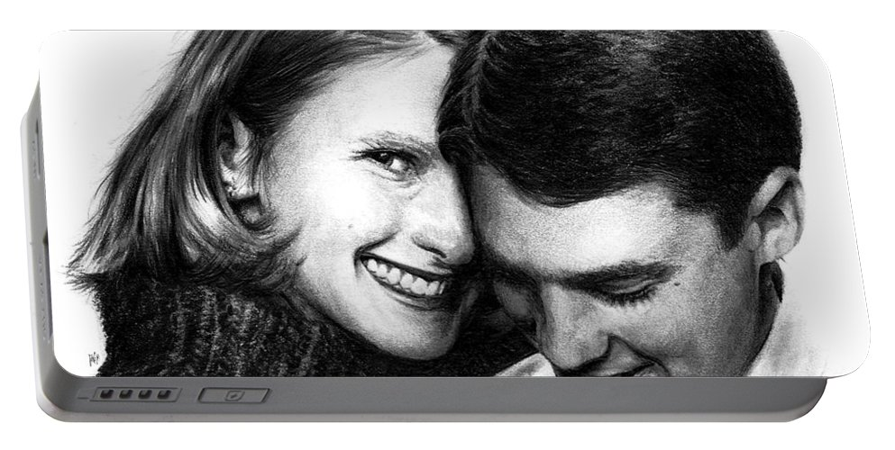 Portrait Portable Battery Charger featuring the drawing Engaged by Rachel Christine Nowicki