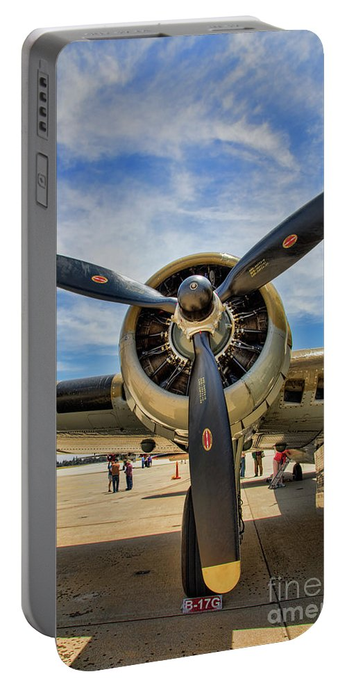 B-17 Portable Battery Charger featuring the photograph Engine B-17 by Chuck Kuhn