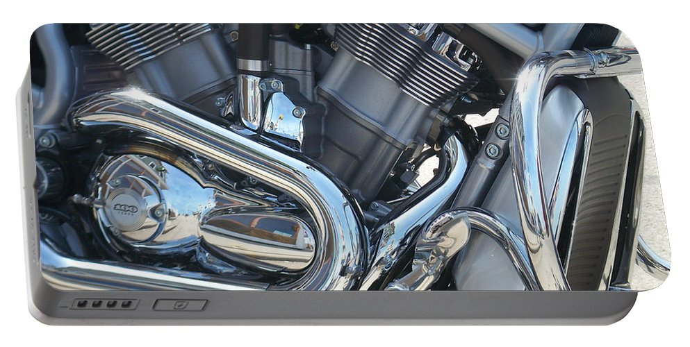 Motorcycle Portable Battery Charger featuring the photograph Engine Close-up 1 by Anita Burgermeister
