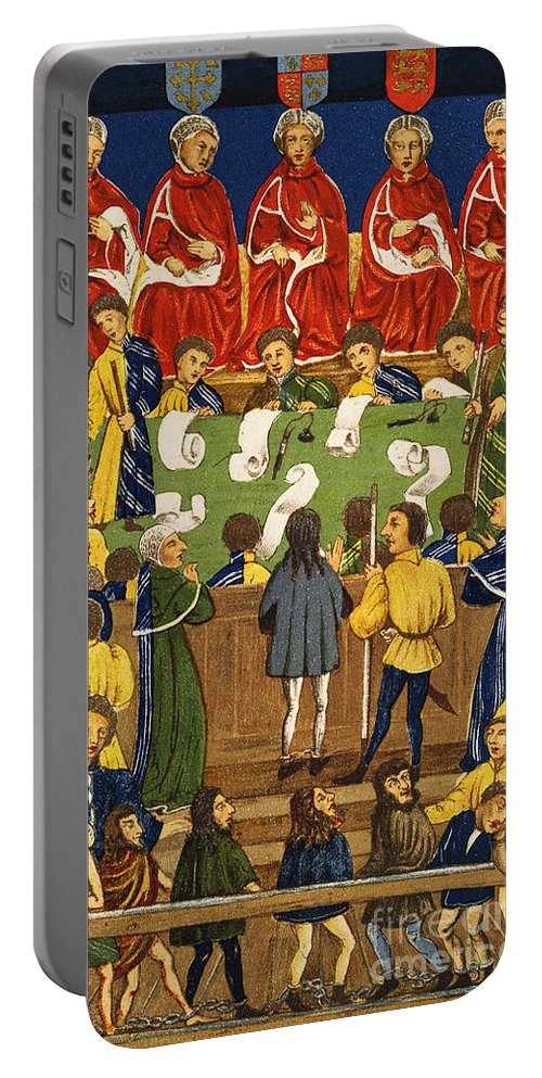 Portable Battery Charger featuring the painting England: Court, 15th Century by Granger