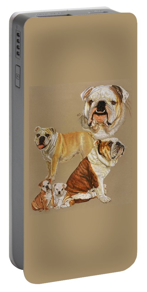 Purebred Portable Battery Charger featuring the drawing English Bulldog by Barbara Keith
