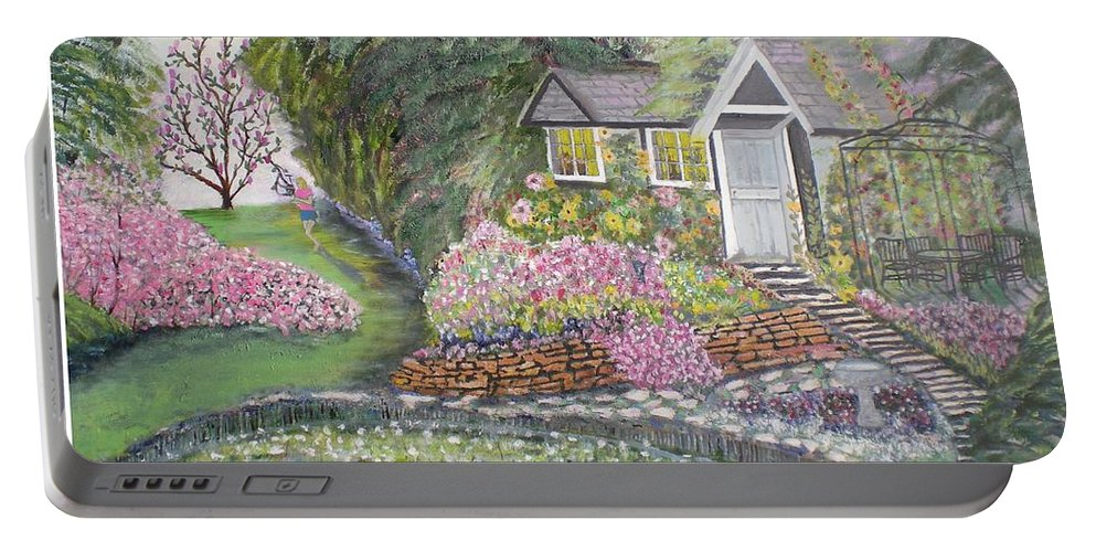 Cottage Portable Battery Charger featuring the painting English Cottage by Hal Newhouser