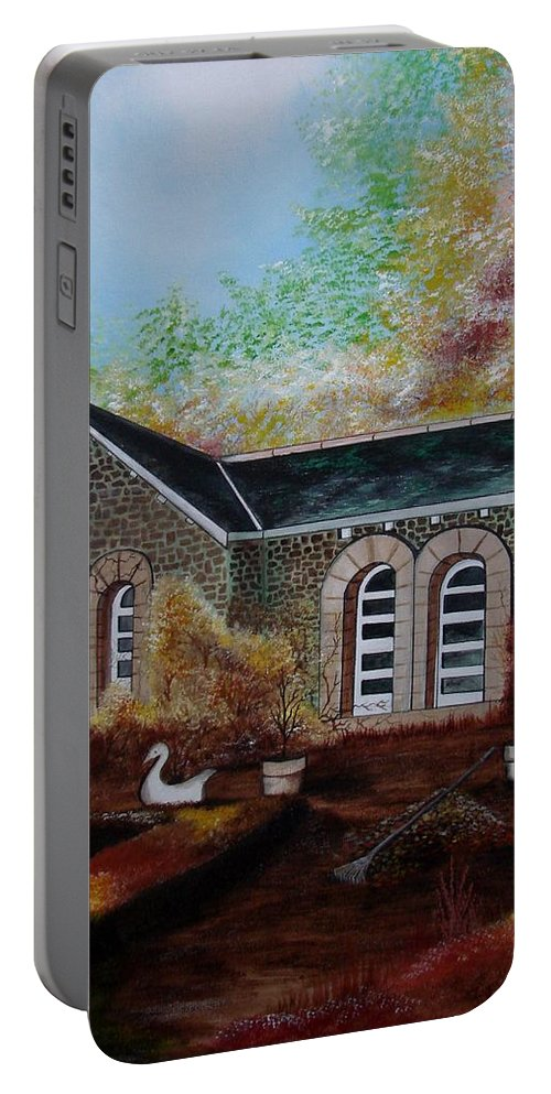 Autmn Portable Battery Charger featuring the painting English Cottage In The Autumn by Glory Fraulein Wolfe