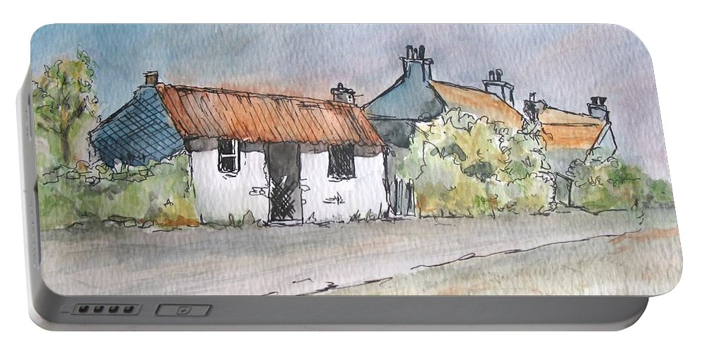 Old Portable Battery Charger featuring the painting English Cottage by Lisa Cini