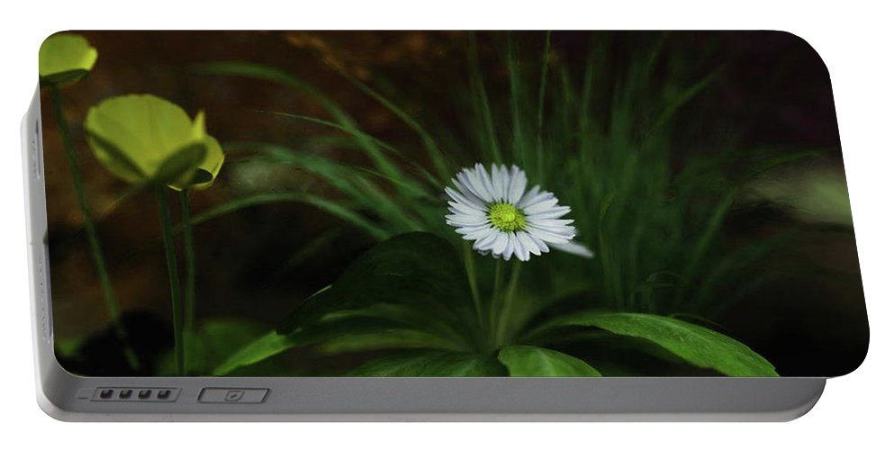 Landscape Portable Battery Charger featuring the digital art English Daisy by Andy Crawford